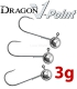 Dragon V-Point Aggressor Jig Head 3g (3 pcs) - hook sizes 1/0-4/0